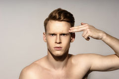 Young man emotional portrait Stock Image
