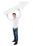 Young man with empty arrow Royalty Free Stock Image