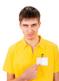 Young Man with Empty Badge Stock Images