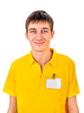 Young Man with Empty Badge Royalty Free Stock Photos
