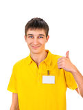 Young Man with Empty Badge Stock Photography