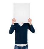Young man with empty board. Isolated young man with empty board Stock Images