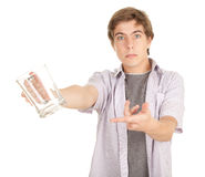 Young man with empty mug of beer Stock Photos