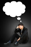 Young man with a empty speech bubble over his head Stock Photos