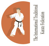 The young man is engaged in karate. Stock Photo