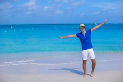 Young man enjoy caribbean vacation on tropical Royalty Free Stock Photos