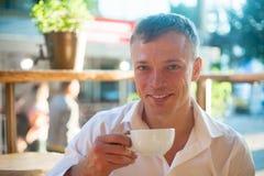 Young man enjoy on coffee break Stock Photo