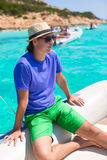 Young man enjoy summer vacation on boat Stock Images