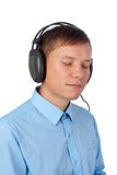 Young man enjoying his music Stock Images