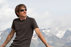 Young man enjoying the mountains Royalty Free Stock Photography