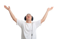 Young man enjoying the music Royalty Free Stock Images