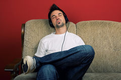 Young Man Enjoying Music Royalty Free Stock Photography