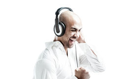 Young man enjoying music Stock Photography