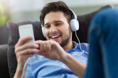 Young man enjoying music Royalty Free Stock Photo
