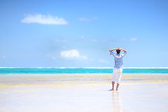 Young man enjoying a sea view Royalty Free Stock Image