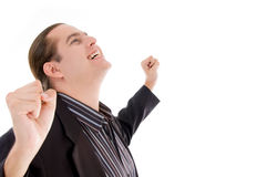 Young man enjoying success Royalty Free Stock Photography