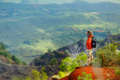 Young man enjoying view into Waimea Canyon Royalty Free Stock Photo