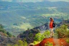 Young man enjoying view into Waimea Canyon. Young man enjoying stunning view into Waimea Canyon, Kauai, Hawaii Royalty Free Stock Photo