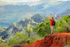 Young man enjoying a view into Waimea Canyon Royalty Free Stock Images
