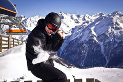 Young man enjoying winter sport royalty free stock image