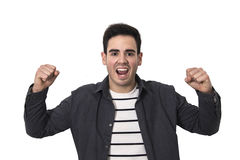 Young man enthusiasm. Man euphoric and with enthusiasm celebrating isolated in background white stock image