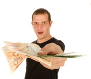 Young man with euro banknotes Royalty Free Stock Images