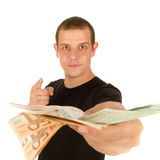 Young man with euro banknotes Stock Images