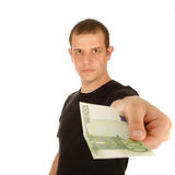 Young man with euro banknotes Stock Photo