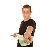 Young man with euro banknotes Stock Photography