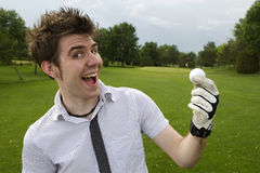 Young man excited about golf. Ready to play on golf course Stock Photo