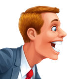 Young man excited happy smile vector head. Young man excited surprised happy amazed smile vector head portrait cartoon open mouth vector illustration