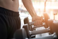 Young man execute exercise in fitness center. male athlete choos. E dumbbell in gym. sporty asian guy working out in health club Stock Images