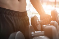 Young man execute exercise in fitness center. male athlete choos. E dumbbell in gym. sporty asian guy working out in health club Royalty Free Stock Photography