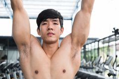 Young man execute exercise with machine in fitness center. male. Athlete training in gym. sporty asian guy working out in health club Royalty Free Stock Photography