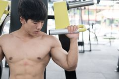 Young man execute exercise with weightlifting machine in fitness Royalty Free Stock Images