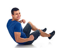 Young man exercise bench working abdominal Royalty Free Stock Photography