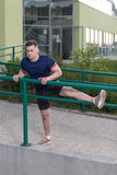 Young Man Exercise Fitness Sport And Strech Stock Image