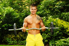 Young man exercisess with dumbells Royalty Free Stock Image