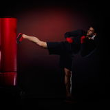 Young man exercising bag boxing Royalty Free Stock Photo