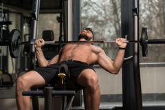 Young Man Exercising Chest With Barbell Stock Photos
