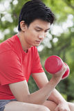 Young Man exercising with Dumbbell Stock Photography