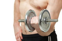 Young man exercising with dumbbell on white background. Stock Photo