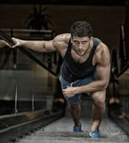 Young man exercising in the gym Stock Photography