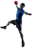 Young man exercising handball player silhouette. One caucasian young man exercising handball player in silhouette studio  on white background Royalty Free Stock Images