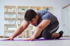 Young man exercising at home in sports and healthy lifestyle con Stock Photography