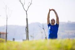 Young man exercising outdoor. At Lisbon city Royalty Free Stock Photos