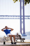 Young man exercising outdoor. At Lisbon city Stock Photos