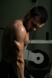Young Man Exercising Triceps In The Gym Stock Photo