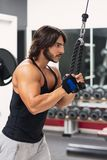Young man exercising triceps pulldown at the gym. Side view portrait of a determined young man exercising triceps pulldown at cable machine during upper body stock photography