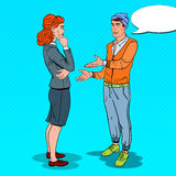 Young Man Expaining his New Idea to Business Woman in Office. Pop Art illustration Royalty Free Stock Photos